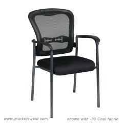 Cloth Padded Folding Chairs U Shaped Chair Legs Progrid Mesh Back Visitors With Fabric Seat