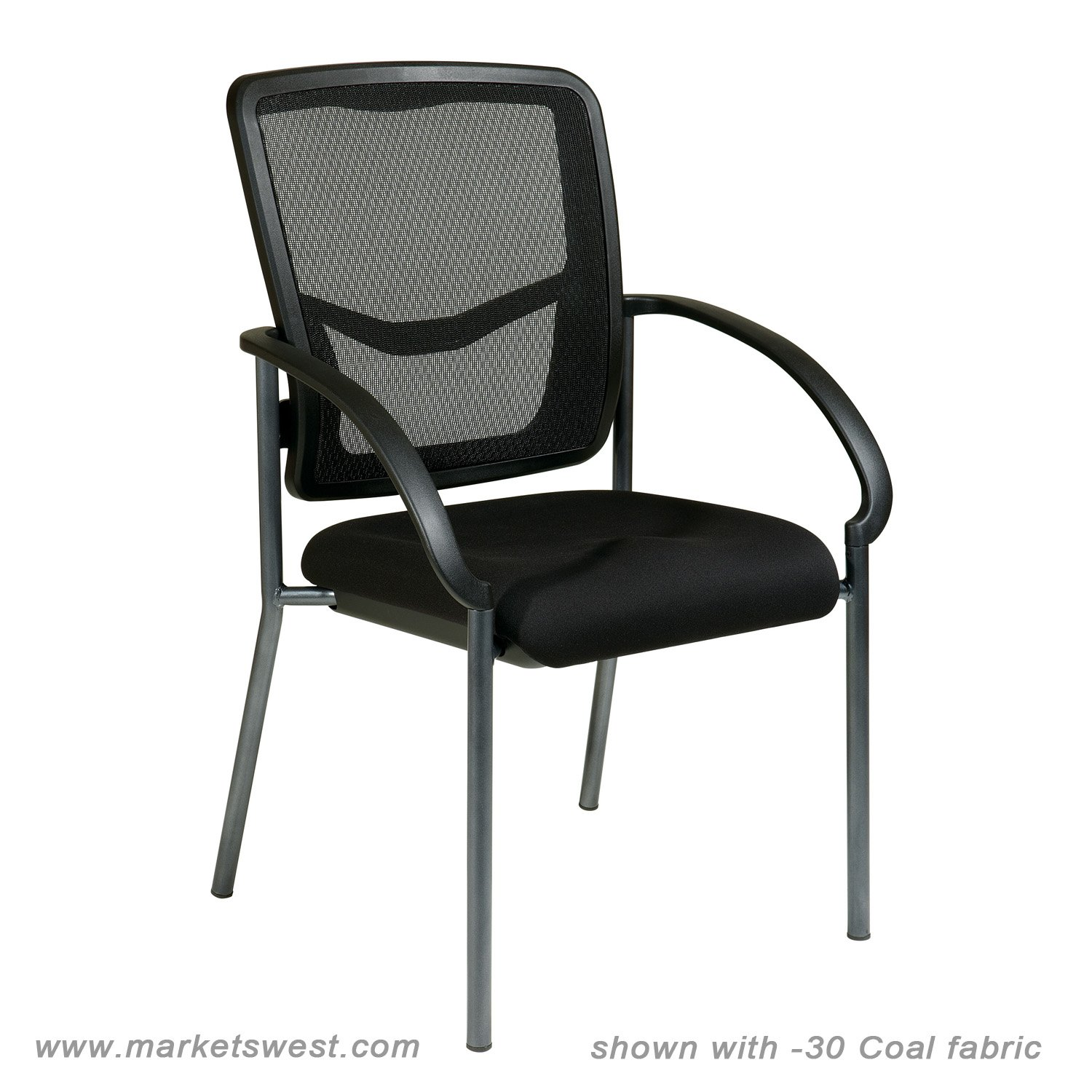 folding visitor chair office caster progrid mesh back visitors with padded fabric seat