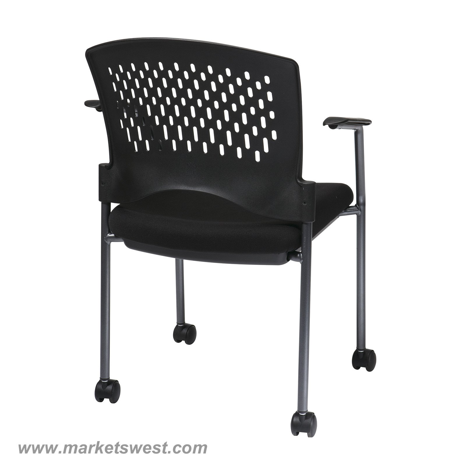 stackable rolling chairs barcelona replica pro line ii titanium finish black visitors chair