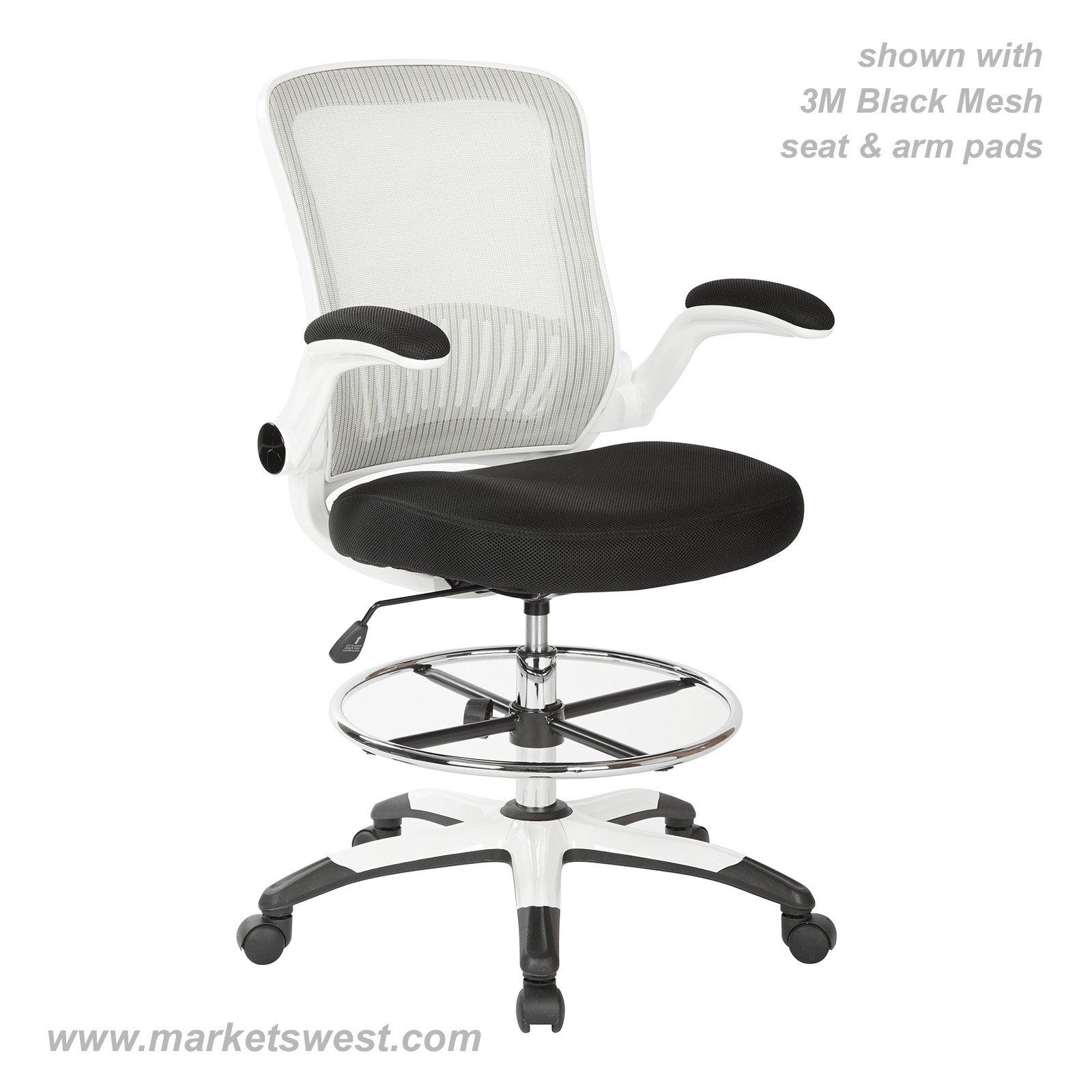 mesh drafting chair oka dining room covers white back stool