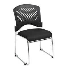Stackable Padded Chairs Eames Aluminum Management Chair Replica Stacking Visitors With Plastic Back Black Fabric Seat Loading