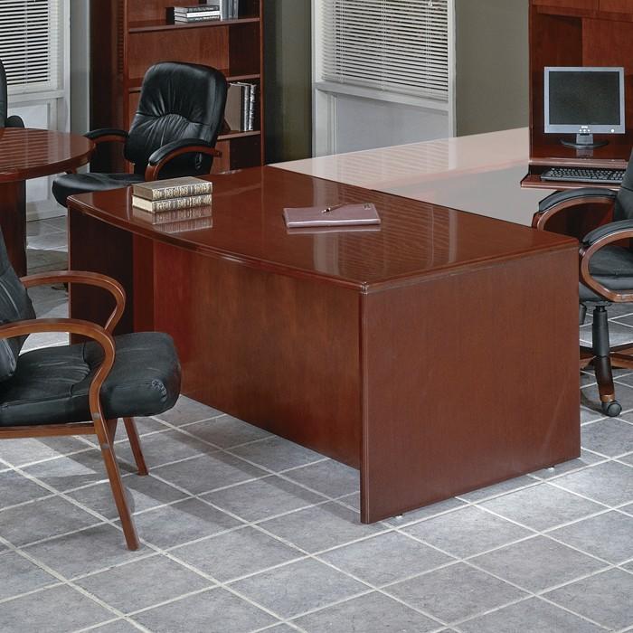 Bow Top Double Pedestal Desk 72x39 in Dark Cherry Wood