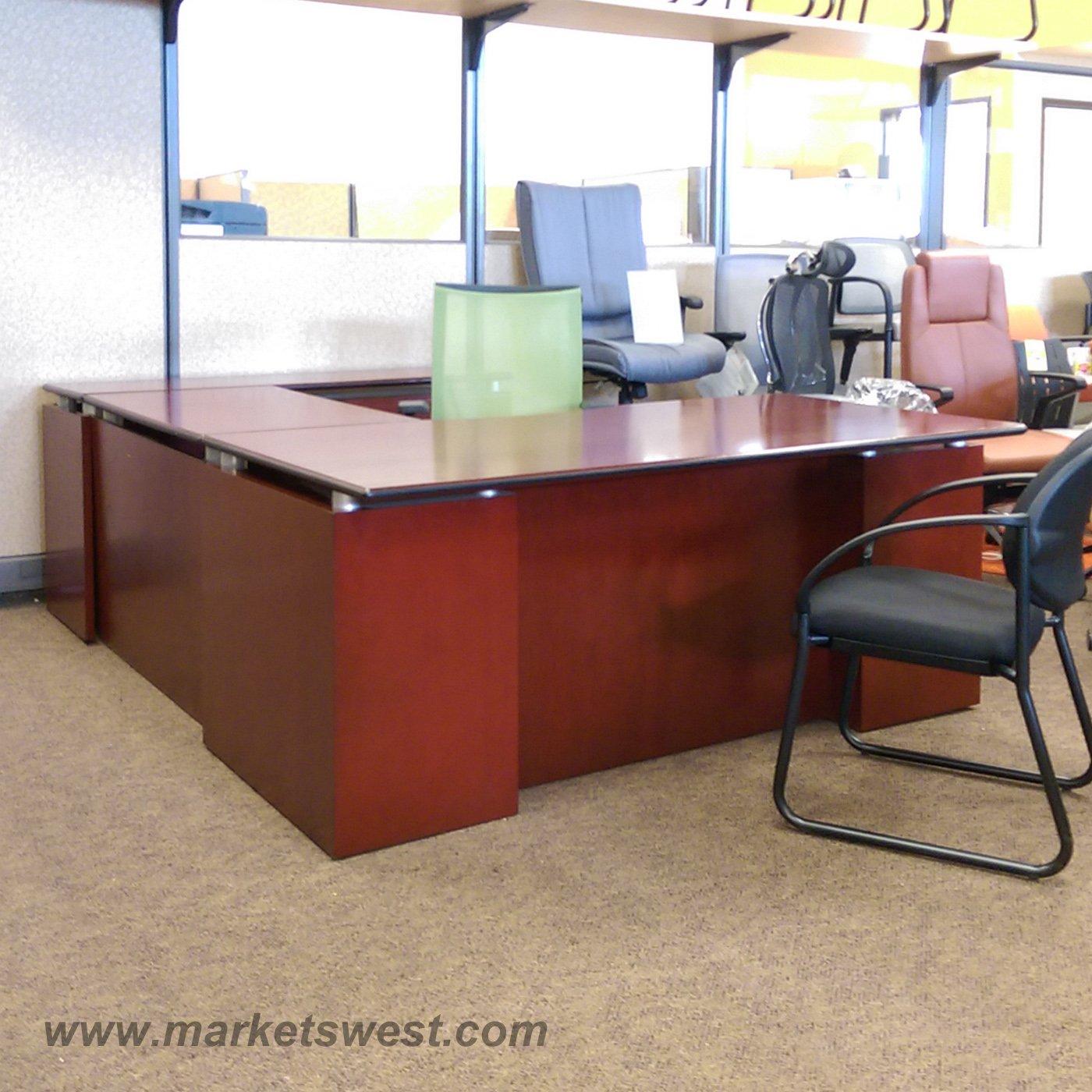 MahoganyDark Cherry Wood Veneer UShape Desk Suite  Used