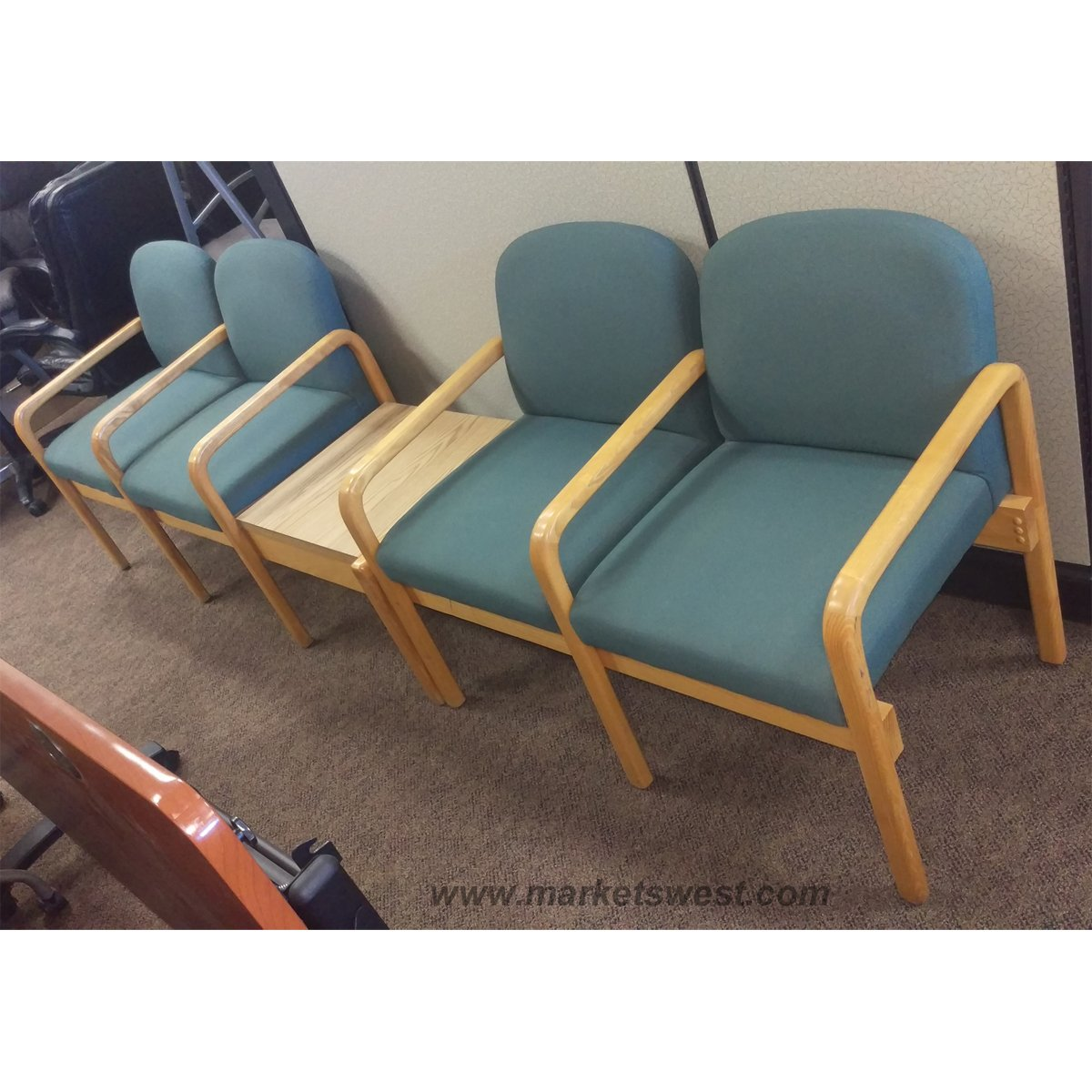 used oak table and chairs discounted accent complete set of blue fabric waiting room