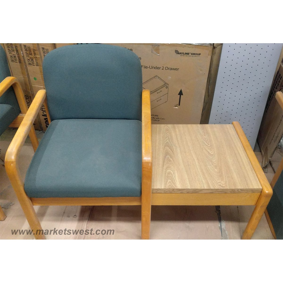 used oak table and chairs chair design manufacturers complete set of blue fabric waiting room