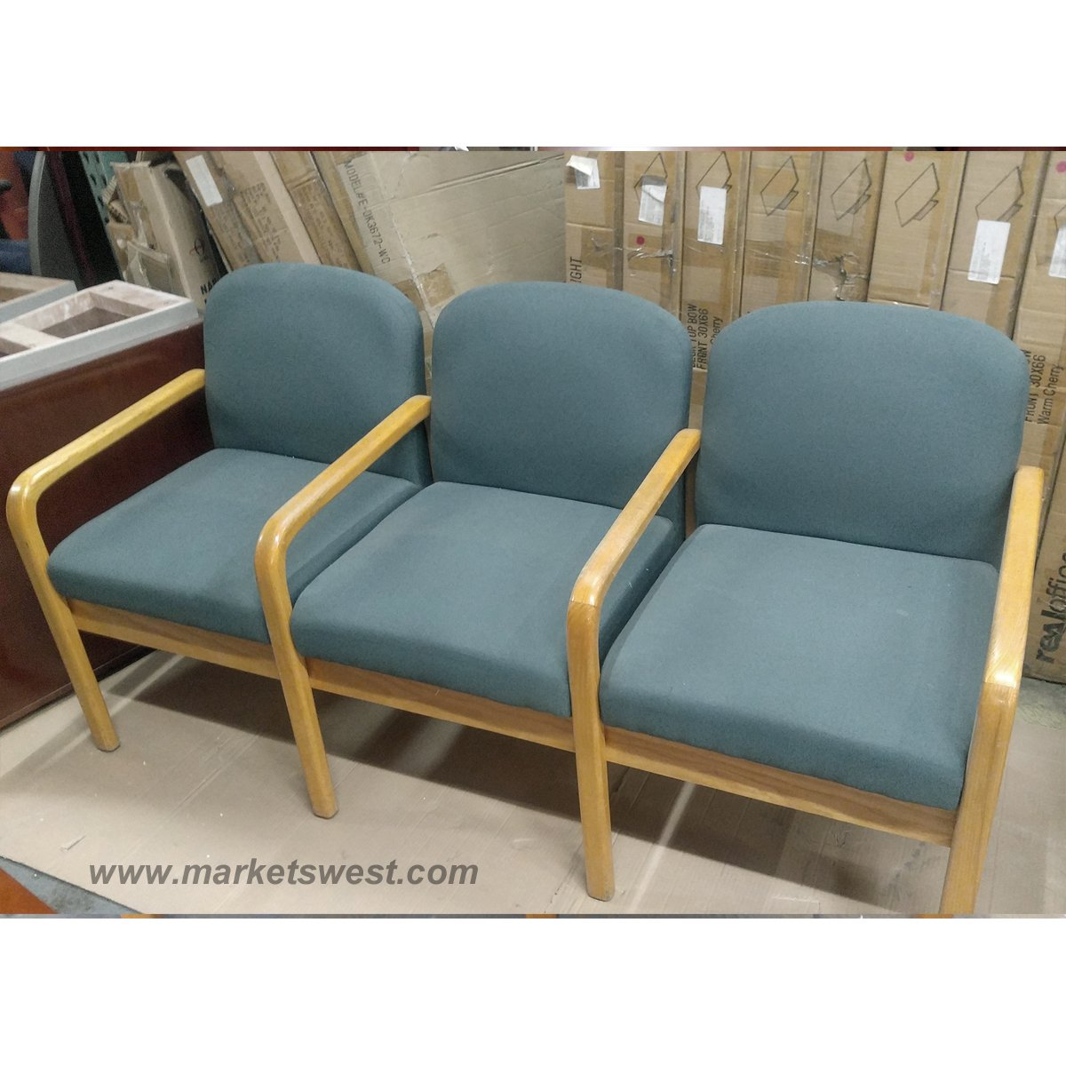 used oak table and chairs woven folding chair complete set of blue fabric waiting room