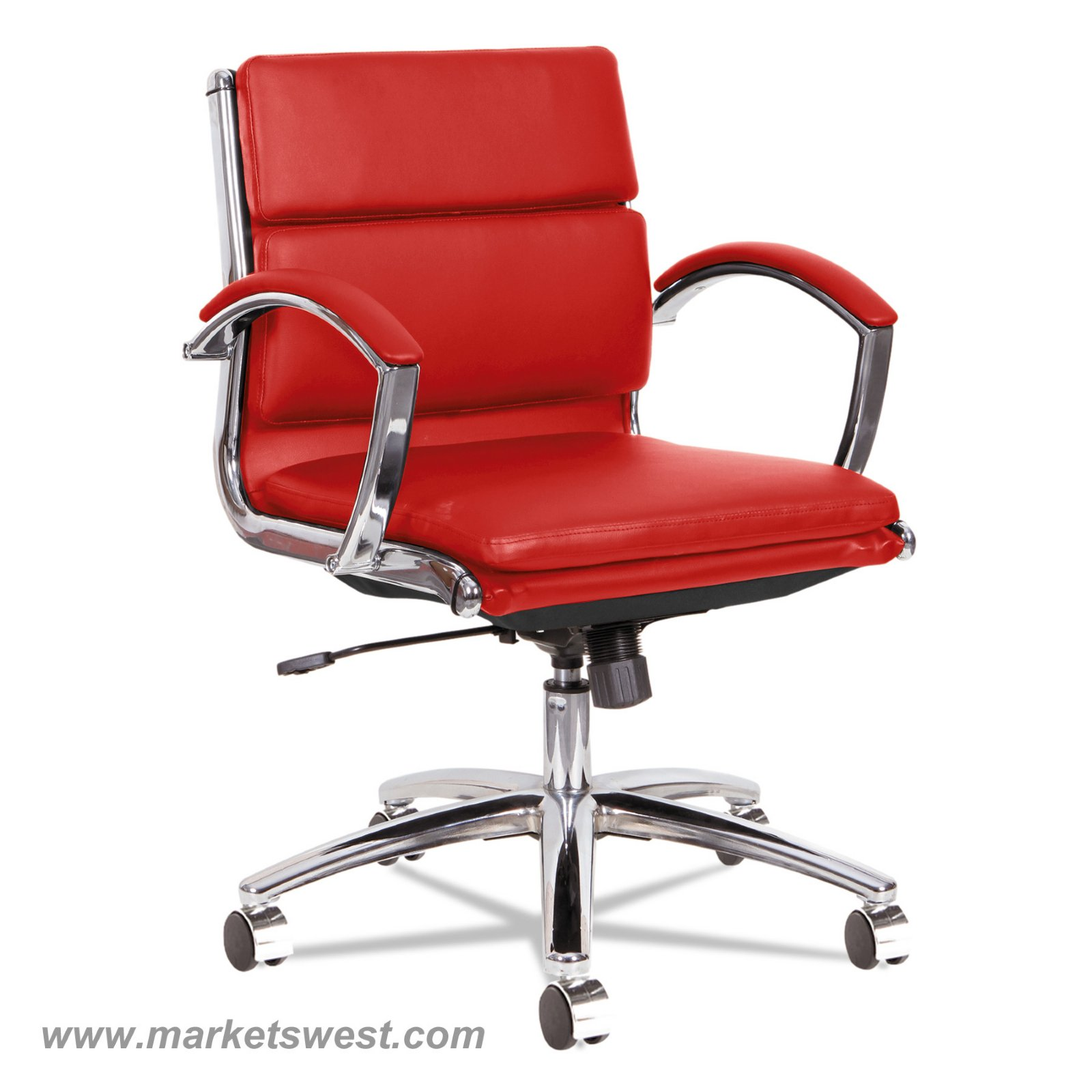 leather chrome chair toddler round wooden table and chairs neratoli low back swivel tilt red soft touch quick view