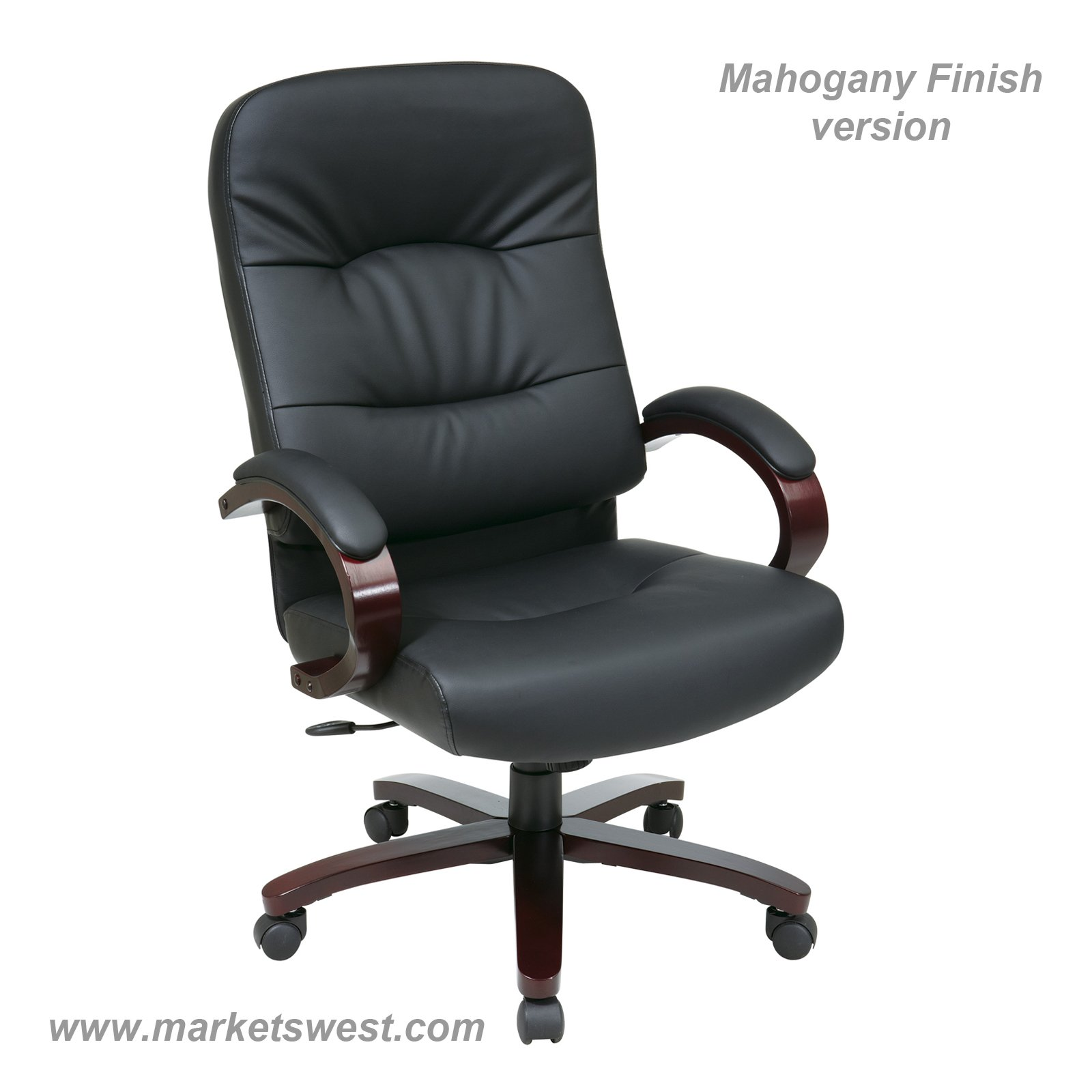 Leather High Back Chair with Mahogany Finish Wood Base and