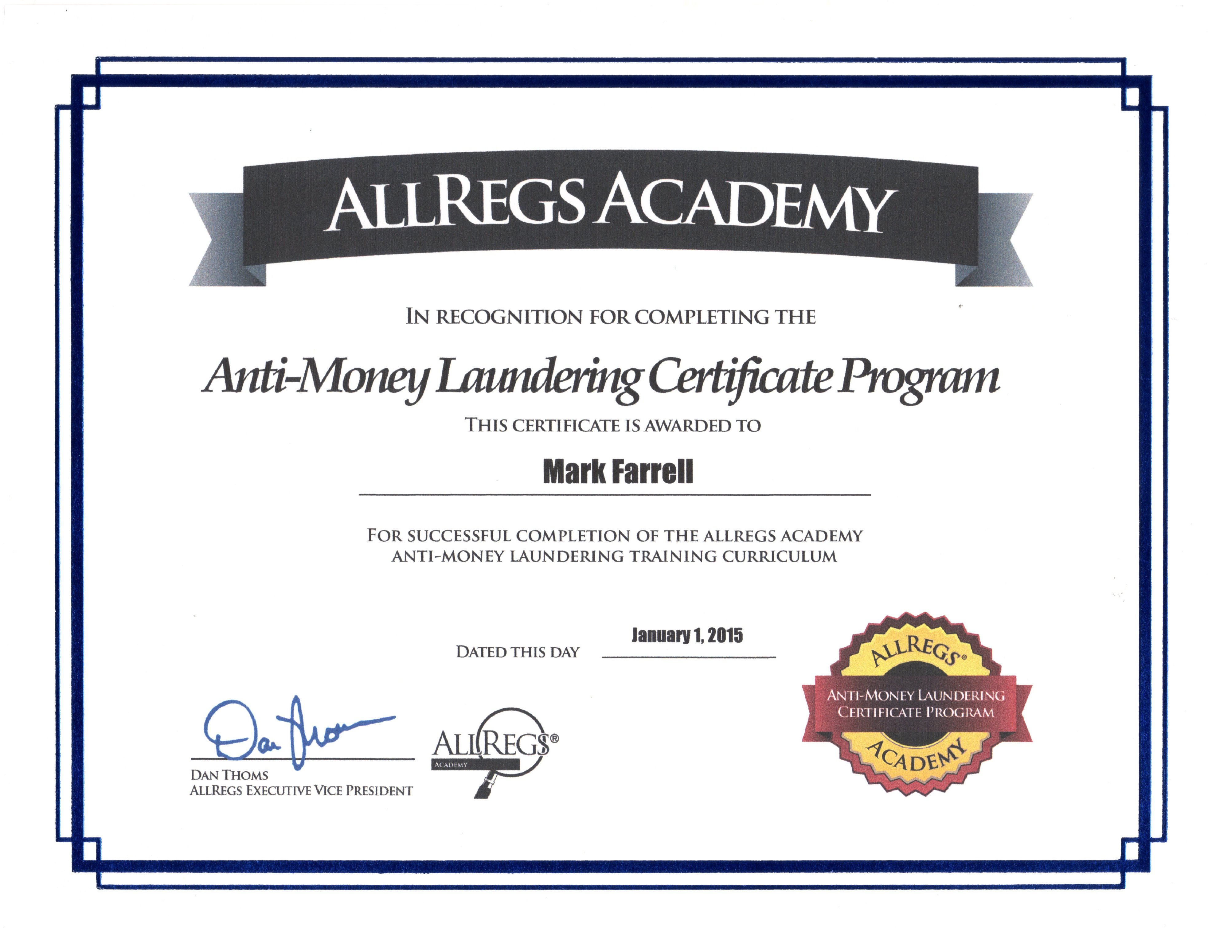 Aml Certification Requirements Tutore