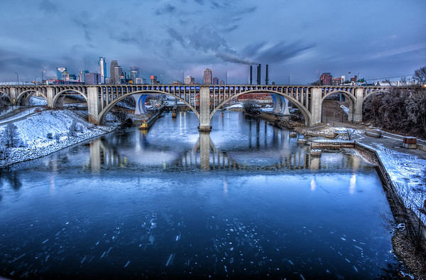 Ice Trails, Mississippi River, Minneapolis, HDR, Winter, Bridge 9