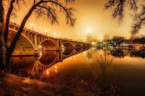 Third Avenue Bridge HDR, Mississippi River Bridge, Fog, Winter, Minneapolis, Bridge water reflection