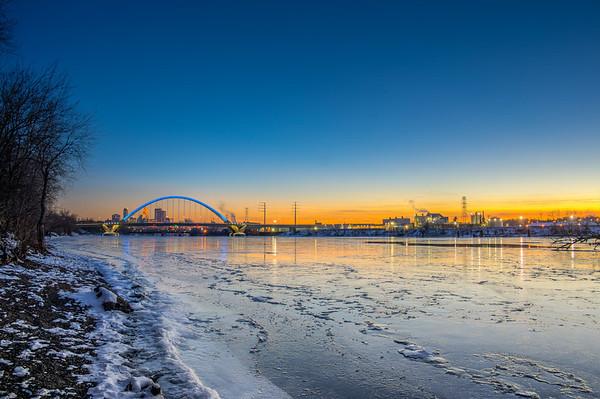 New Lowry Avenue Bridge, Minneapolis, Lowry Avenue Bridge HDR, Mississippi River, Frozen, Ice, Winter, Blue Bridge