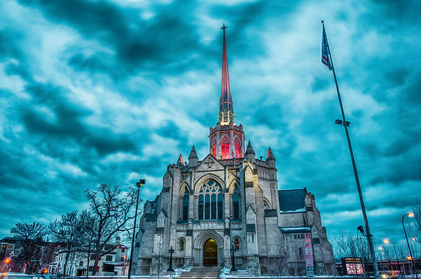 Hennepin Avenue United Methodist Church, HDR church spire, English Gothic style, HDR Church Photography, Minneapolis