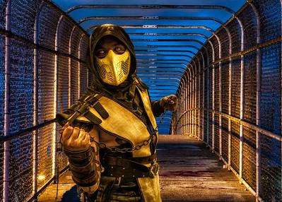 Comic Con HDR, Comic Con Cosplay, Cosplay HDR Composite Portrait, Scorpion Costume Mortal Kombat