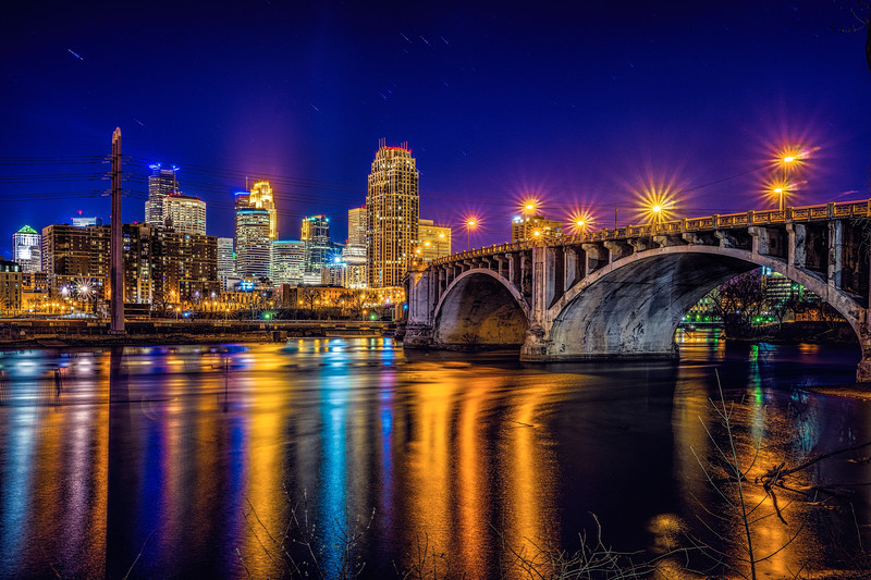 Light It Up Blue 2015, Minneapolis Skyline, Capella Tower in blue for Autism Speaks