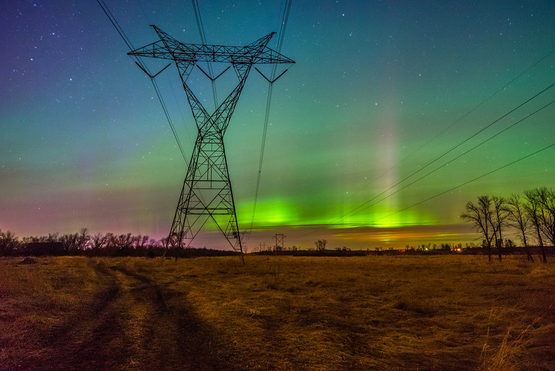 Power Grid Aurora Borealis, Power Lines Northern Lights, Minnesota Aurora Borealis, Green Northern Lights Central Minnesota