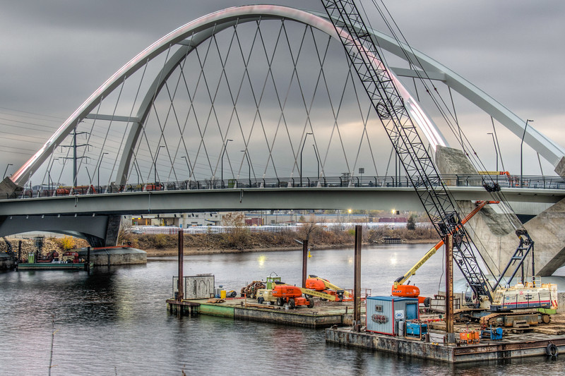 Lowry Avenue Bridge, New Bridge, Red Light Bridge, Minneapolis, Minnesota, HDR, Red LED Bridge