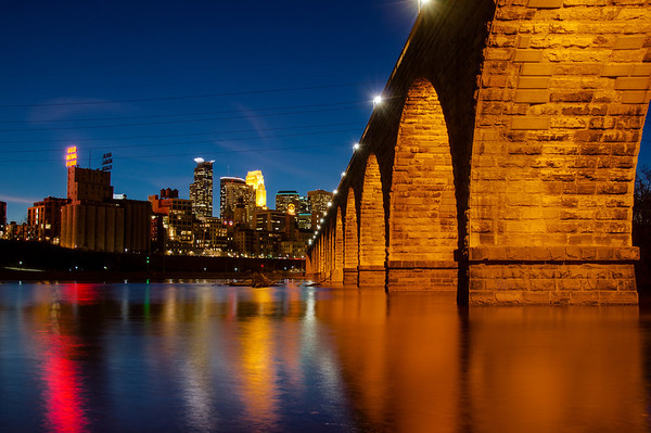 Minneapolis skyline and the stone arch bridge at night, Minneapolis at night HDR, Stone Arch Bridge HDR, Mississippi River Minneapolis HDR