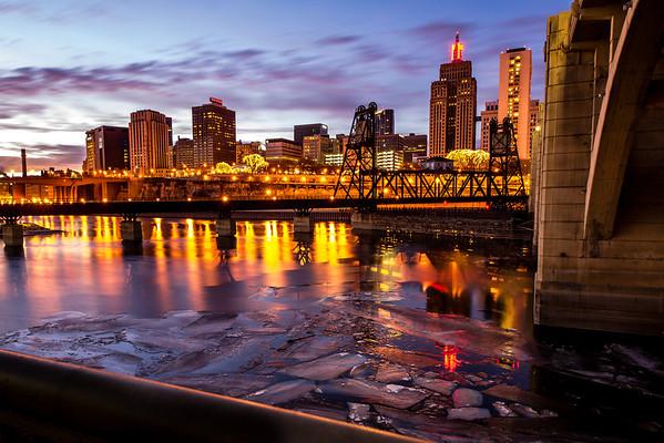 Saint Paul, St Paul, Mississippi River, River Ice, Robert St Bridge, HDR