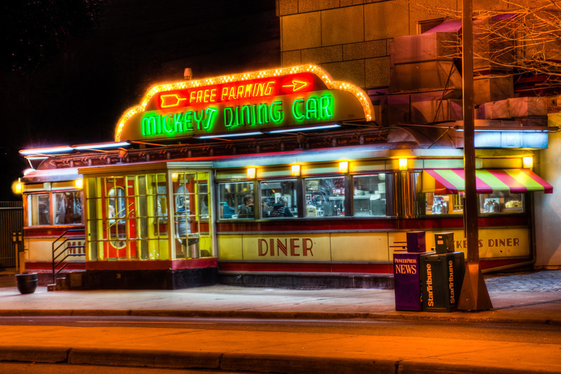 Mickey's Dining Car, Saint Paul Minnesota, Neon Diner, Mickey's Diner, HDR of Mickey's Diner, HDR