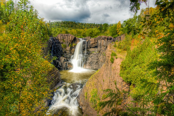 High Falls on the Pigeon River, HDR Waterfall, HDR Pigeon River, Grand Portage, Waterfall Minnesota and Canadian Border