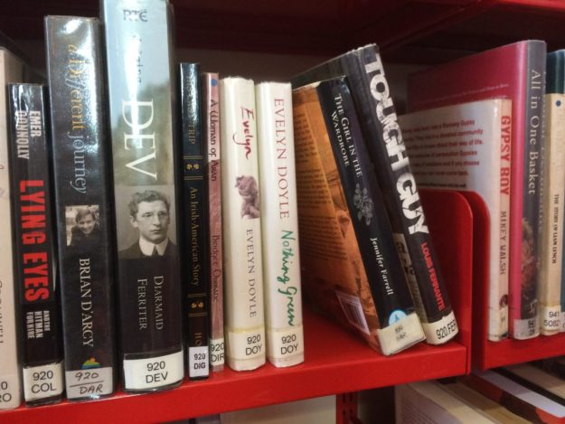 "My book, right of ""Dev"", on the self of the Ballybunion library in July 2016."