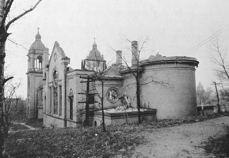 St. Stephen's Church in Hazelwood after the November 1924 fire.