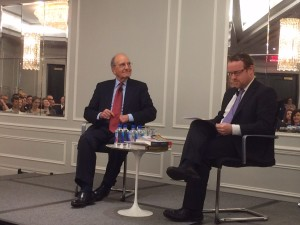 Former U.S. Senator George Mitchell, left, prepares to be interviewed by Irish Times Washington correspondent Simon Carswell.