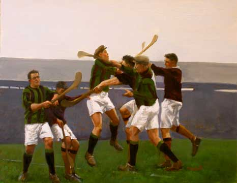 The-Hurling-Match. Painting by Martin Driscoll.