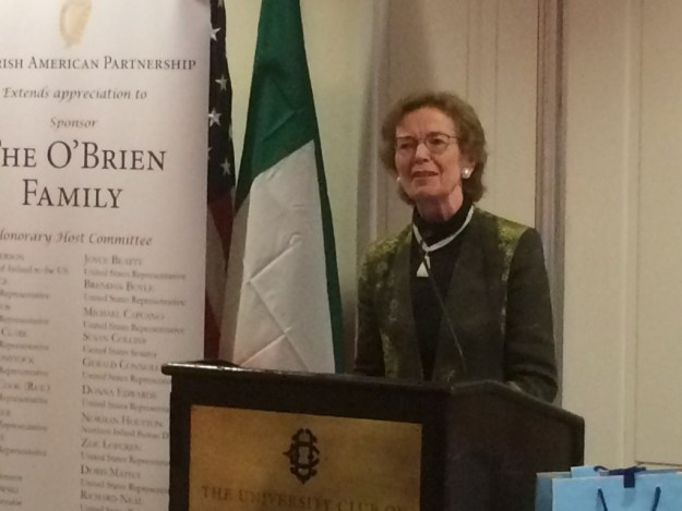Former Irish President Mary Robinson gave the keynote speech at the fourth annual Nollaig na mBan hosted by the Irish American Partnership. The event celebrates Irish and Irish-American female leaders and the positive impact they have worldwide.
