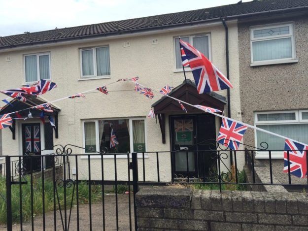 Shankill homes decorated with the British Union Jack.