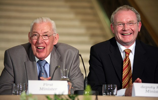 16/7/2007. Northern Ireland Deputy First Minister, Martin McGuinness, and First Minister, the Rev Ian Paisley, at the press conference at Parliament Buildings, Stormont (Belfast), after their meeting with British Prime Minister Gordon Brown. Pic. Albert Gonzalez/RollingNews.ie