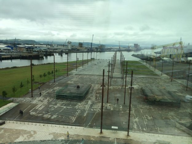 The view from inside Titanic Belfast look out across the dry dock where the ship was launched in 1912.
