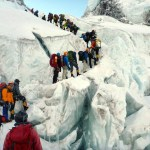 This isn't the photo of a queue of climbers on the Hillary Step, taken by Nirmal Purja. It was taken by Edita on the Khumbu Icefall, but it illustrates the same concept - too many people queueing for too long in a dangerous location (Photo: Edita Horrell).