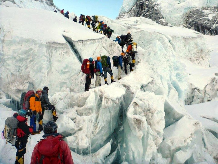 This isn't the photo of a queue of climbers on the Hillary Step, taken by Nirmal Purja. It was taken by Edita in the Khumbu Icefall, but it illustrates the same concept - too many people queueing for too long in a dangerous location (Photo: Edita Horrell).