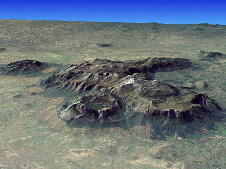 Mt Mulanje is a monadnock, an isolated massif rising up out of the surrounding plain (Photo: Jesse Allen, NASA Earth Observatory)