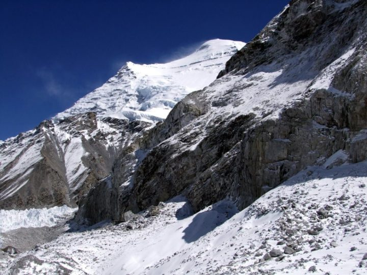 The mountain peeps: the first view Shipton and his party would have had of Cho Oyu after crossing the Nangpa La