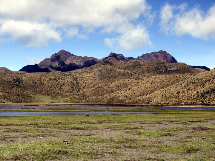 The three summits of Rumiñahui from the Limpiopungo Plain: Sur (4696m), Central (4634m), and Norte (4722m)