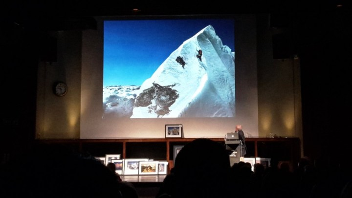 Doug Scott with THAT photo of Dougal Haston climbing the Hillary Step