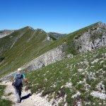 Traversing the long, undulating ridge between Pizzo Deta and Monte del Passeggio