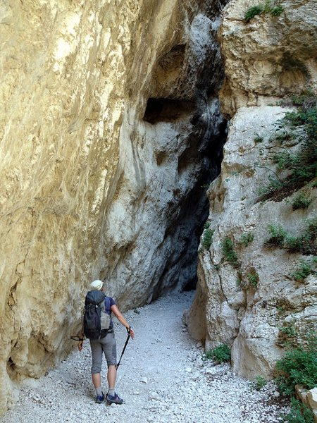 Staring into the astonishing 2m-wide entrance of the San Spirito gorge