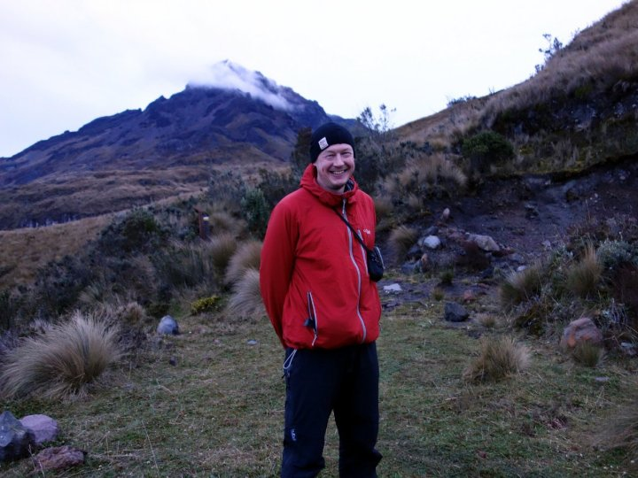 Me at the start of the climb up Cotacachi, with the mountain behind