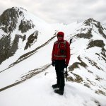 Me on the curling ridge with Monte Camicia's summit behind