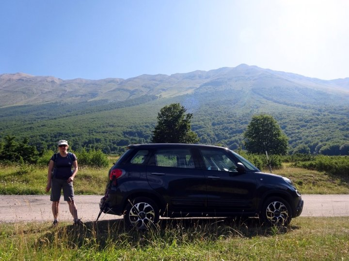 We parked up in a green valley, with the massive wall of the Maiella plateau rising high above