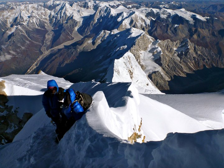 Looking back down Manaslu's summit ridge (Photo: Edita Nichols)
