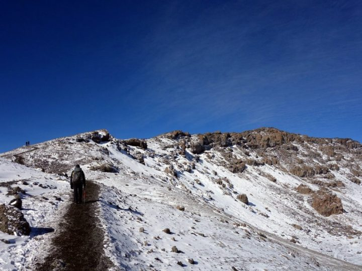 The route between Gillman's Point and Uhuru Peak crosses a series of rocky bumps