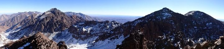 Panorama of the Toubkal valley, Toubkal (4,167m), Ras n-Ouanoukrim (4,083m) and Timesguida n-Ouanoukrim (4,089m) from Akioud