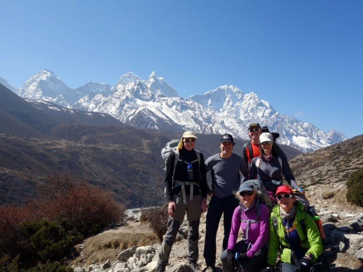 Me, Ricardo, Louis, Dia (back), Edita and Margaret (front) on the trail below Dingboche with Kangtega behind