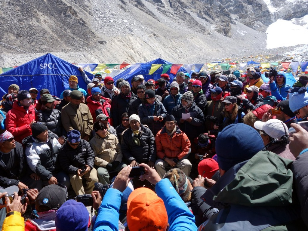 The Everest Base Camp summit meeting: an eyewitness account