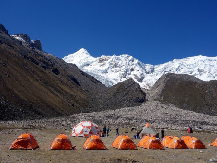 Ishinca base camp, with Tocllaraju rising behind